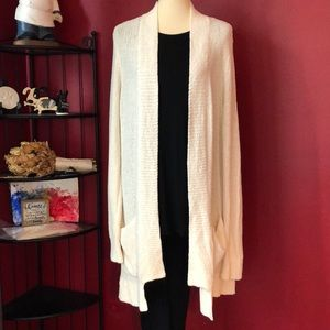 NWT LOFT CREAM LONG OPEN CARDIGAN